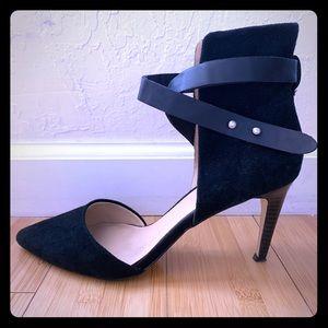 Joe's Jeans ankle strap suede heels